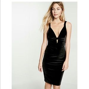 Express Black Plunging V-Neck Velvet Sheath Dress